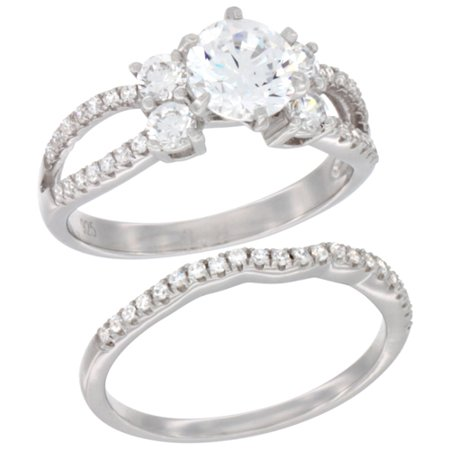 Ladies Sterling Silver Round Center 2 Piece Engagement Micro Pave Cz Ring Set 9 32 Inch Wide  Sizes 6   9