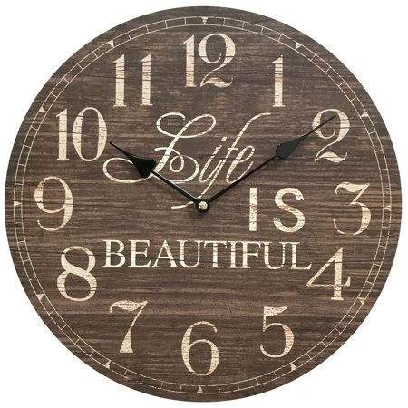 Clock Life Story (Life is Beautiful Wooden Clock; Diameter: 13.5