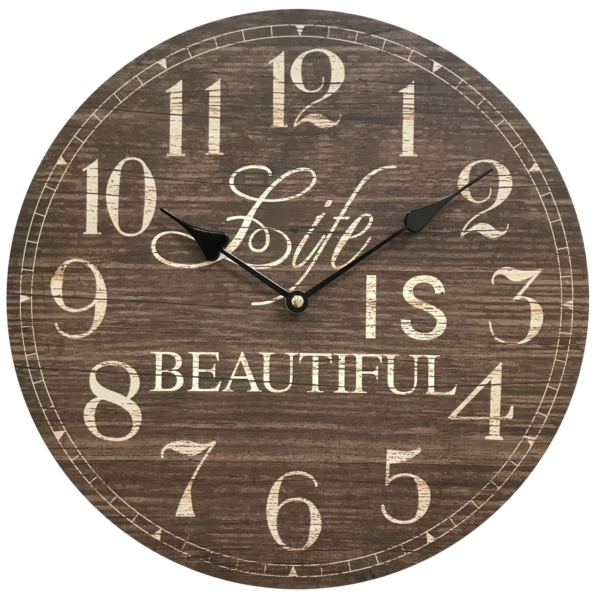"Life is Beautiful Wooden Clock; Diameter: 13.5"", MDF sturdy construct. Hang in the office, dorm, shop, home to have postive impatc"