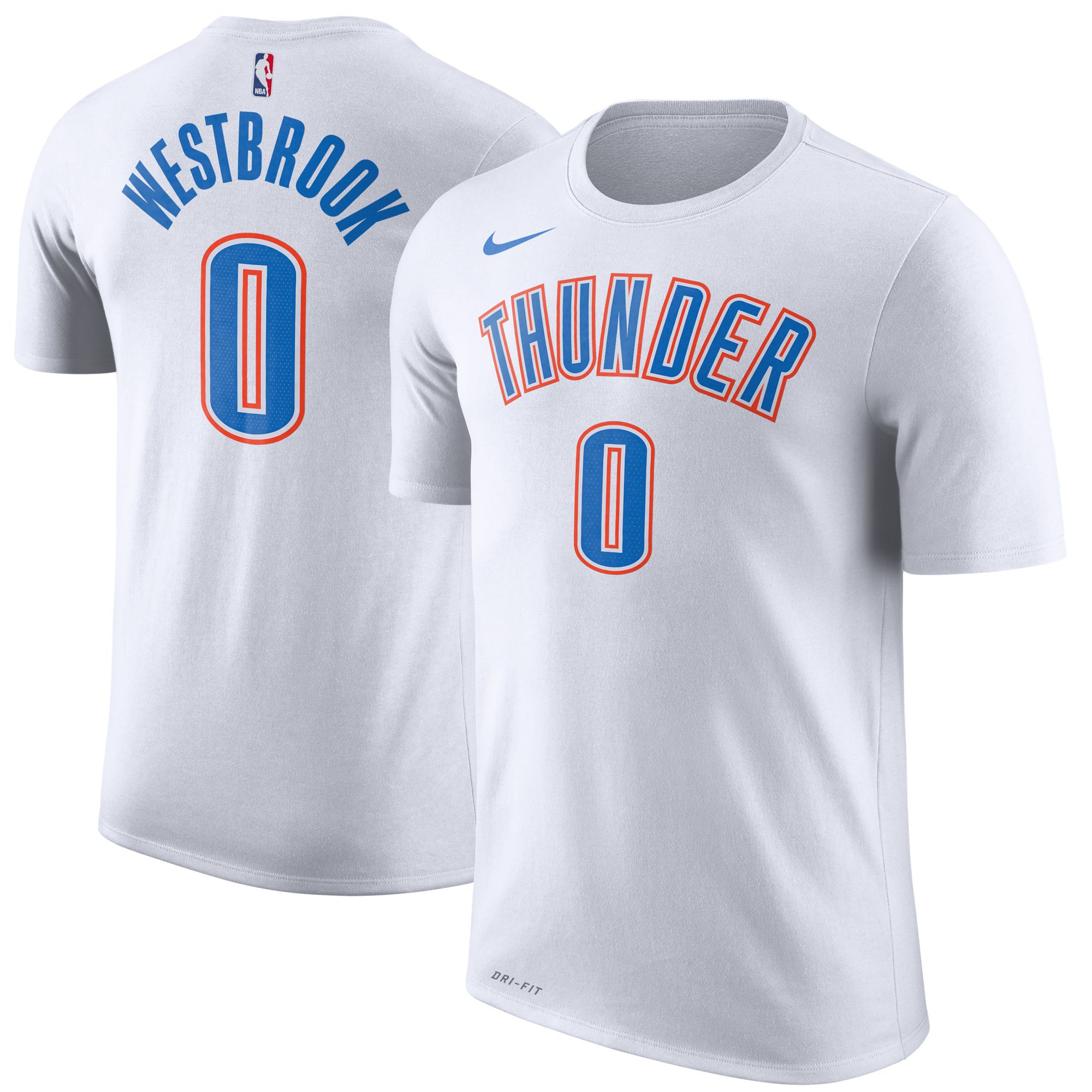 new arrival b56fc 964b8 Russell Westbrook Oklahoma City Thunder Nike Name & Number Performance  T-Shirt - White