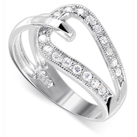 Sterling Silver Overlapping (Gem Avenue 925 Sterling Silver Clear Cubic Zirconia Overlapping)