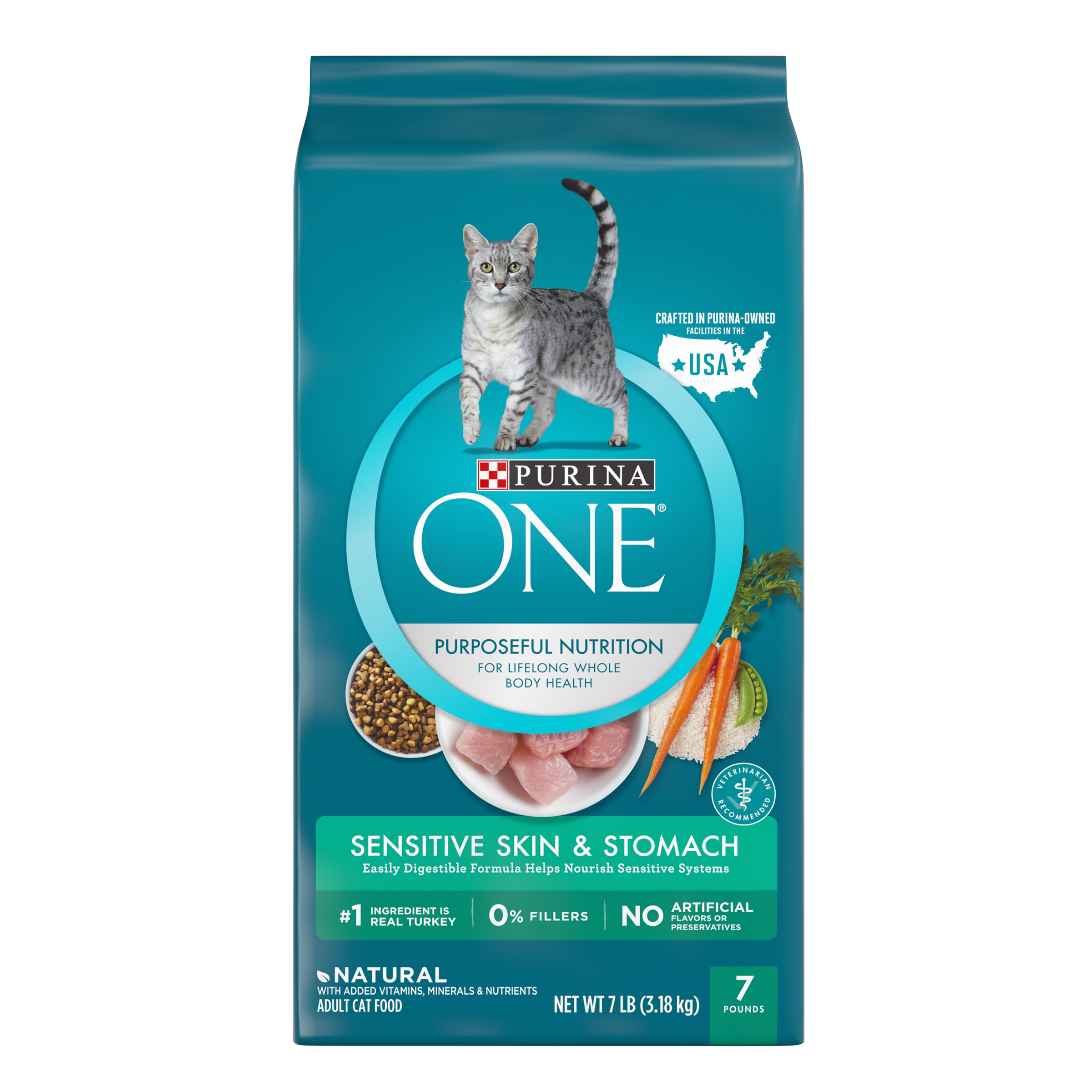 Purina ONE Sensitive Skin & Stomach Formula Adult Dry Cat Food, 7 lb