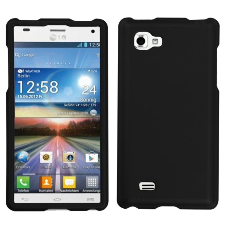 Insten Black Phone Case (Rubberized) for LG: P880 (Optimus 4X HD)