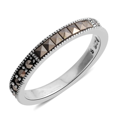 Marcasite Sterling Silver Band Ring For Women