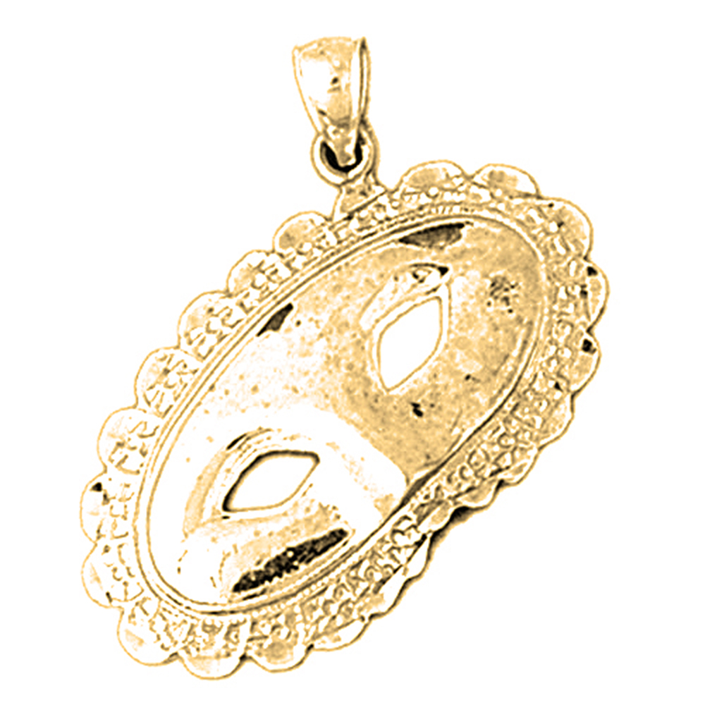18K Yellow Gold Lace Masquerade Mask Pendant - 33 mm