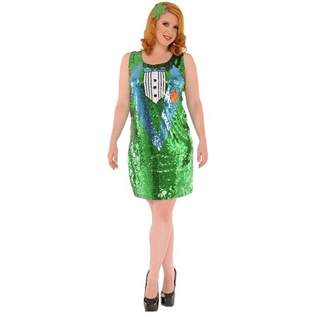 Lady Luck Costume (Delicious Sequin Front Pull Over Dress Luck 'O The Irish, Multi,)