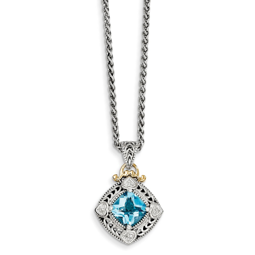 Sterling Silver With 14k Diamond and Blue Topaz Necklace .06 dwt by Jewelryweb
