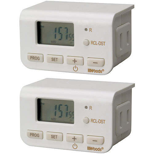 Woods Slim Fit Simple Set 2-Pack Indoor Digital Daily Lamp Timer, White, 50007
