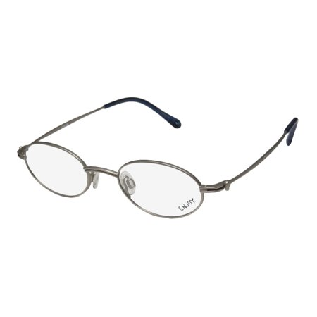 New Enjoy By Rodenstock 1715 Mens/Womens Oval Full-Rim Gray Discontinued Style Frame Demo Lenses 46-19-135 - Discontinued Eyeglass Frames