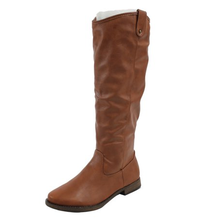 Leather Bamboo - Bamboo Women's Faux Leather Cowboy Western Pull On Tab Knee High Riding Boot