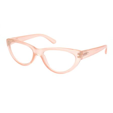 Womens Gothic Mod Retro Cat Eye Plastic Reading Glasses Pink (Pink Eye Glasses)