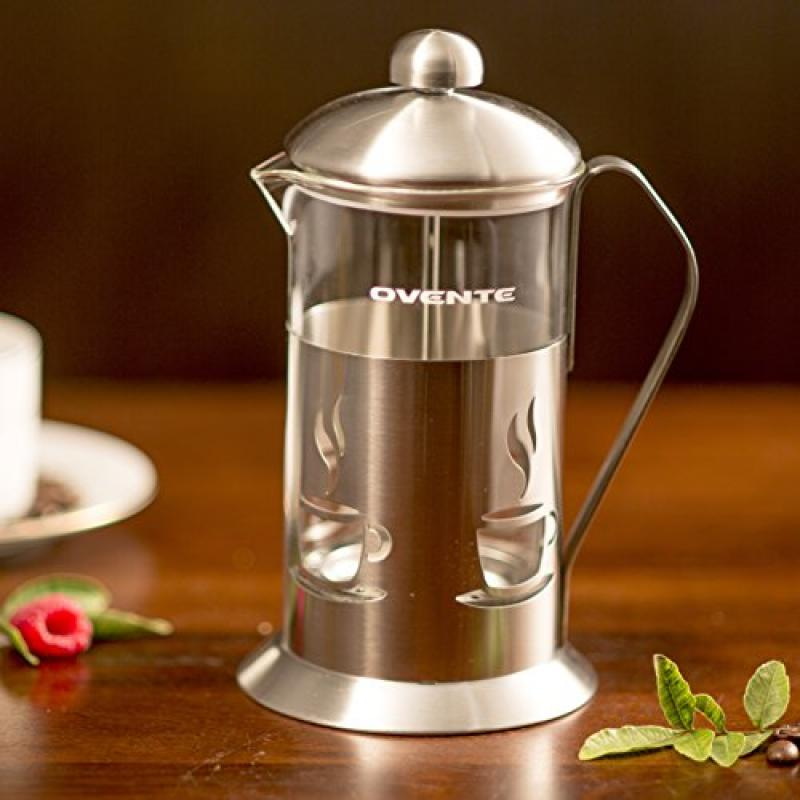 Ovente French Press Cafetière Coffee and Tea Maker, High-Grade Stainless Steel, Nickel Brushed, Heat-Resistant Borosilicate Glass, 34 oz (1005 ml), 8-cup, Classy Café Design, FREE Measuring Scoop