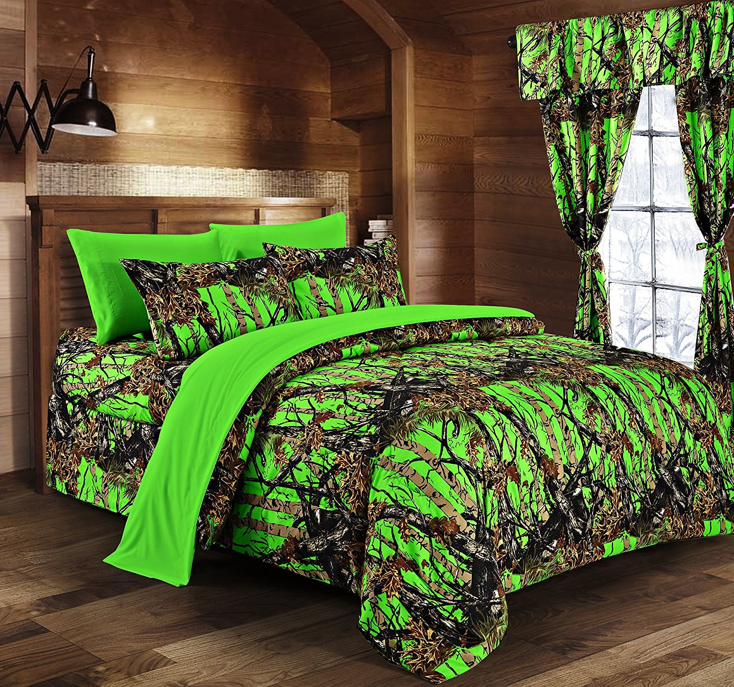 Regal Comfort - BioHazard Green Camouflage Twin 5pc Premium Luxury Comforter, Sheet, Pillowcases, and Bed Skirt Set by Camo Bedding Set For Hunters Teens Boys and Girls