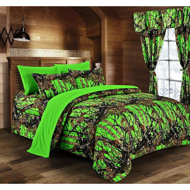 Biohazard Green Camouflage Queen 8pc, Orange Camo Queen Bedding