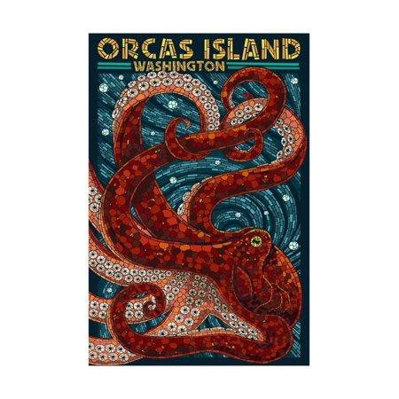 Orcas Island, Washington - Octopus Mosaic Print Wall Art By Lantern Press ()