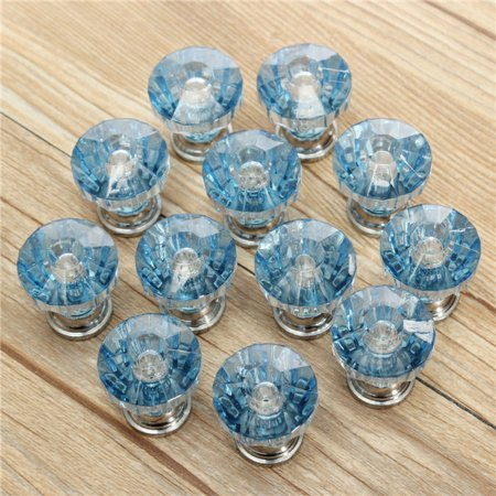 Meigar pack of 12 Drawer Knob Pull Handle Crystal Dresser Glass Diamond Shape Cabinet Door Drawer Pulls Cupboard Knobs with Screws for Kitchen and Bathroom Cabinets etc DIY