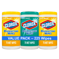 Clorox Disinfecting Wipes, (225 Count Value Pack), Crisp Lemon and Fresh Scent - 3 Pack - 75 Count Each