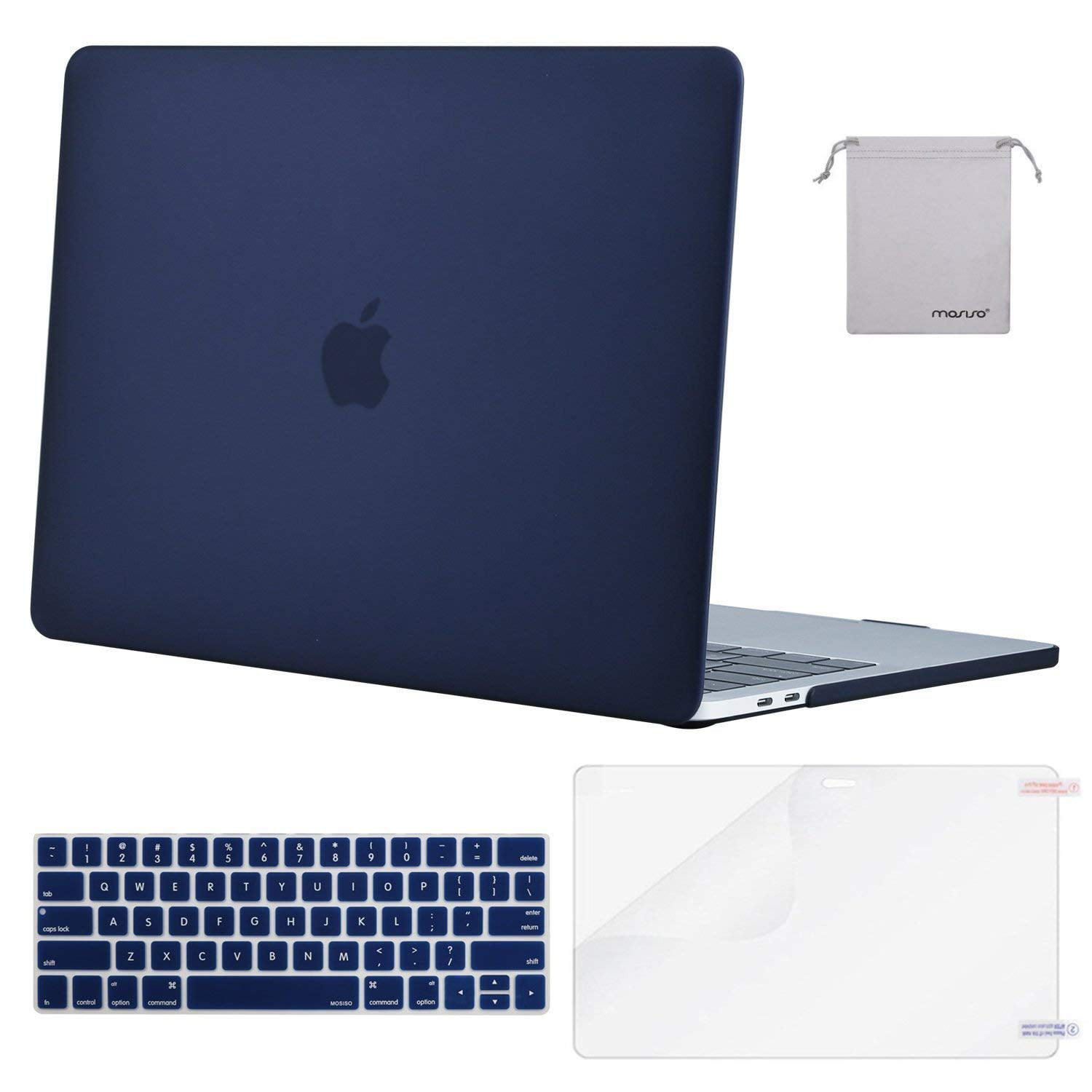 """LCD+BAG 4 in 1 ROYAL BLUE Crystal Case for  Macbook Pro 13/"""" A1425 Retina+Key"""