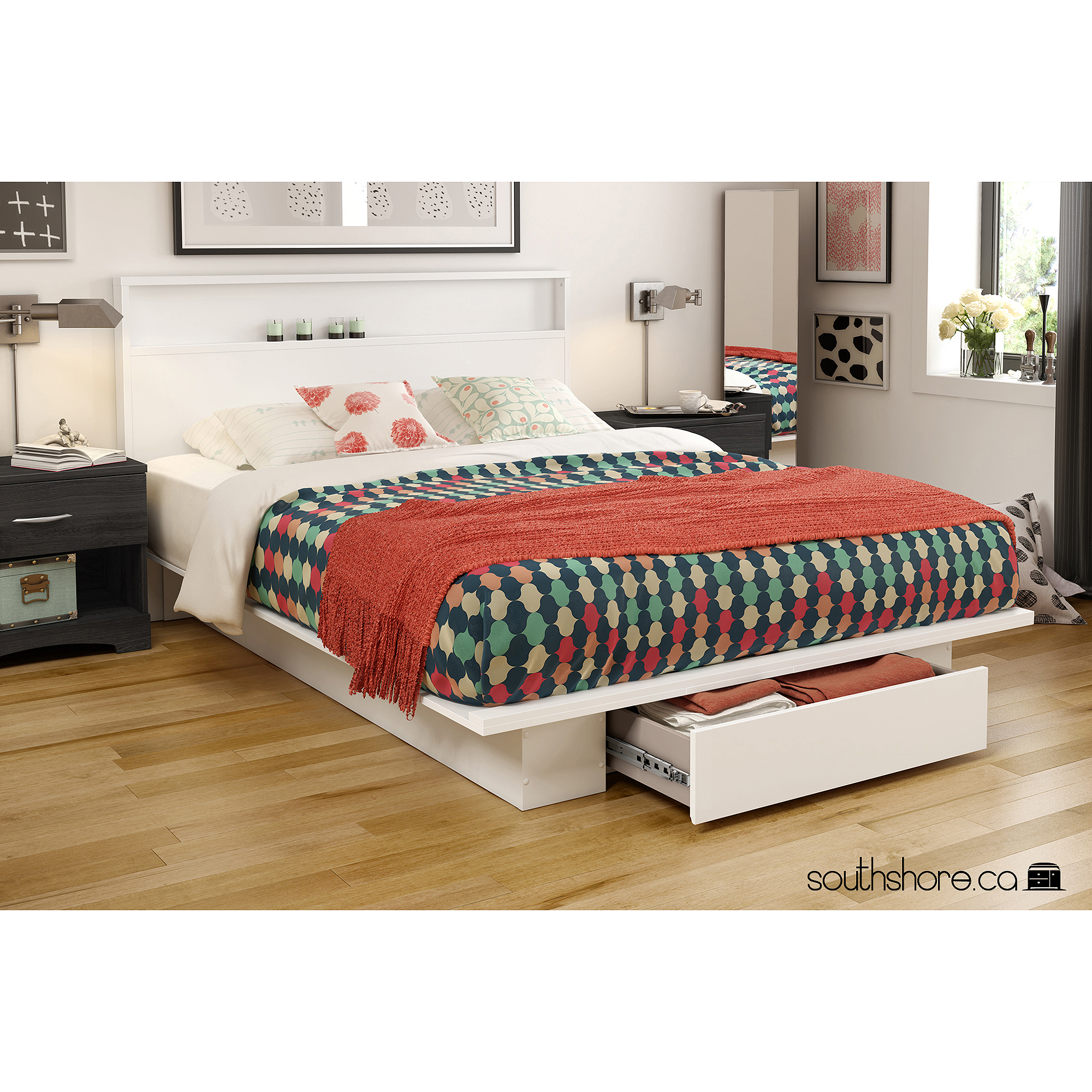 south shore holland fullqueen platform bed with drawer multiple finishes walmartcom - Queen Platform Bed Frame With Drawers