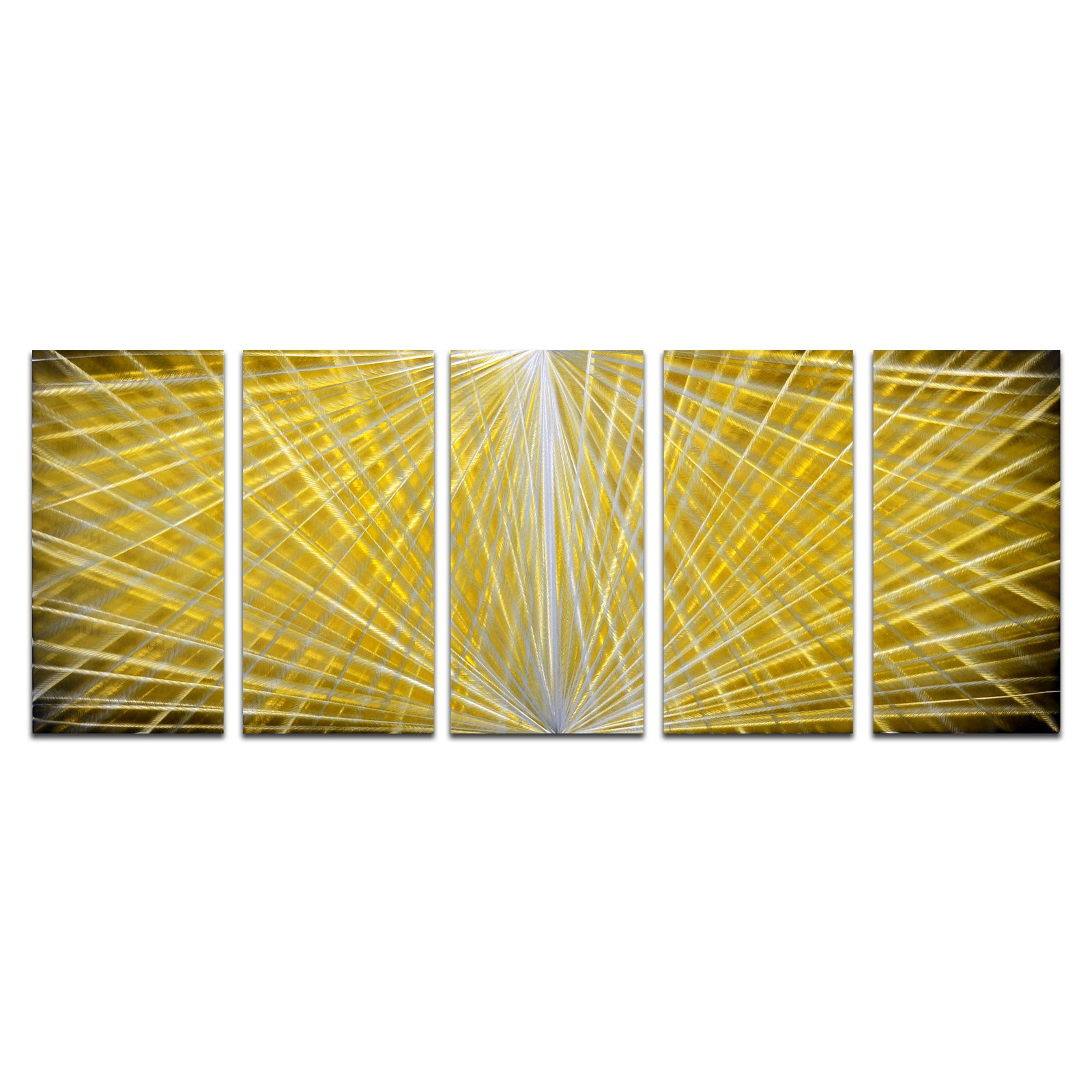 OMAX Hidden Depths Handmade Modern Metal Wall Art - Set of 5