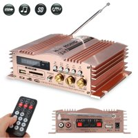600W Mini Amplifier with LCD Digital Display 2 CH Support USB/SD/MMC/FM Radio for Car Motorcycle MP3 MP4 Computer + Remote Control