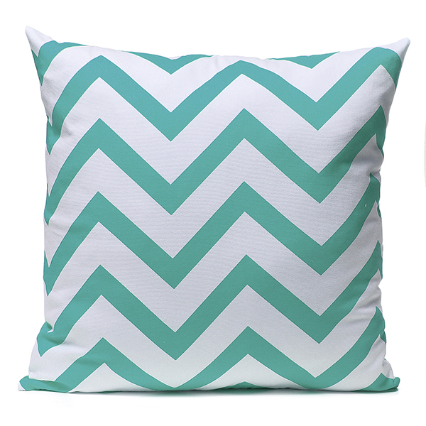 Meigar Stripe Zig Zag Pillowcase, Linen Cotton Square Shaped Decorative Pillowslip... by
