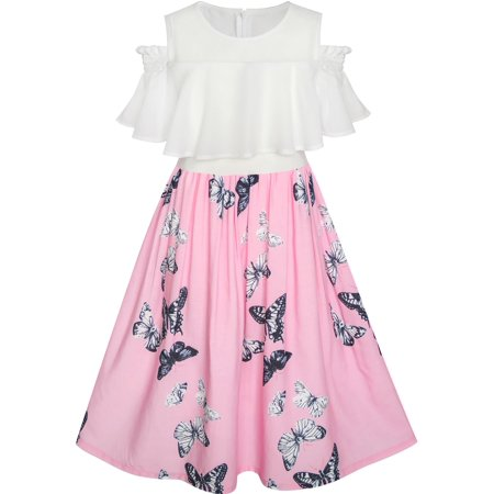 Girls Dress Chiffon Butterfly Ruffle Cold Shoulder White Pink 7