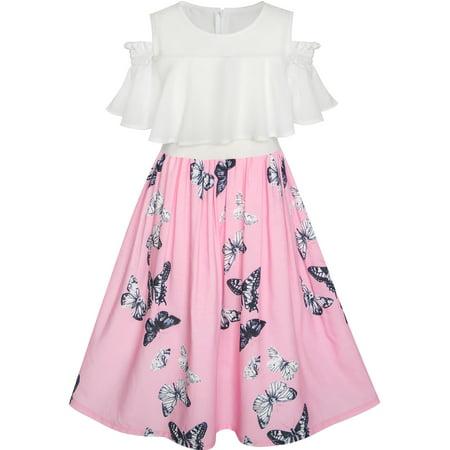 Girls Dress Chiffon Butterfly Ruffle Cold Shoulder White Pink 7 - Pink Butterly
