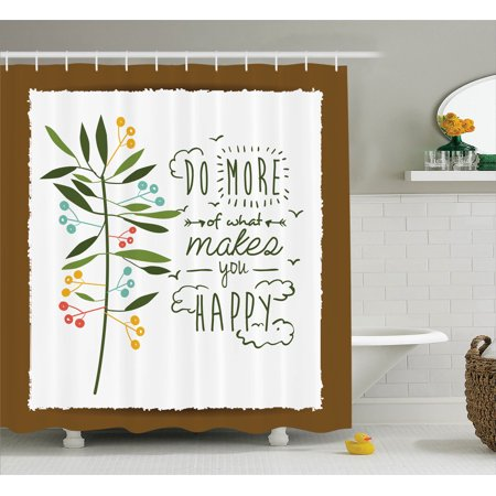 Quotes Decor Shower Curtain Set, Progress Ideas Trendy Ideology Mindfulness Olive Tree Fruits Flying Birds Leaf , Bathroom Accessories, 69W X 70L Inches, By Ambesonne