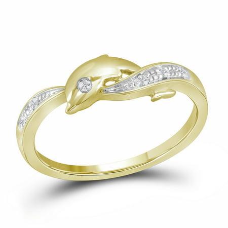 (10k Yellow Gold Round Natural Diamond Womens Dolphin Nautical Animal 2-tone Fine Ring (.50 cttw.) size- 8.5)
