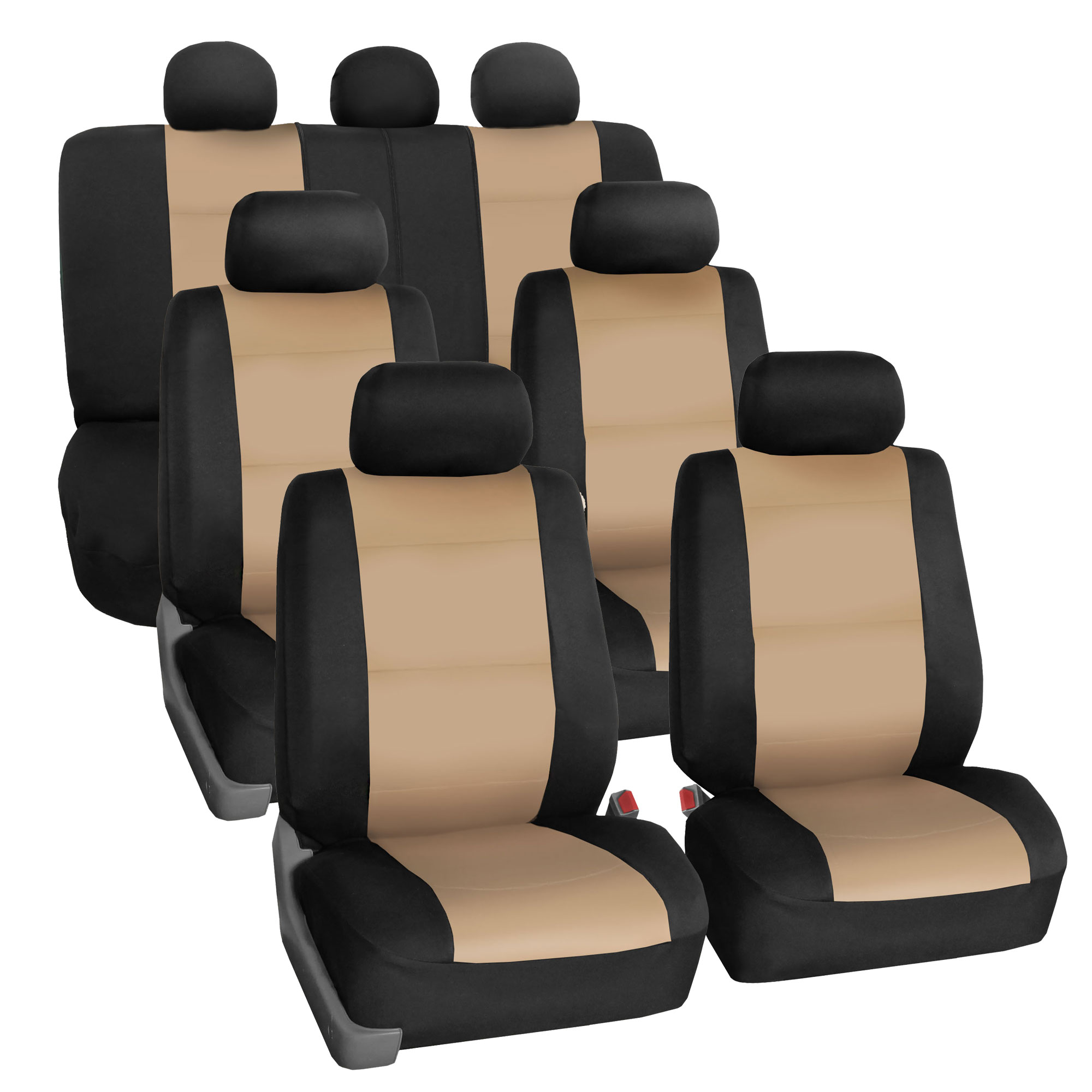 Neoprene 3 Row Car Seat Covers For SUV VAN TRUCK, Airbag Compatible Split Bench 7 Seaters, Beige Black