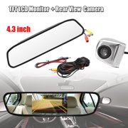 4.3 Automobile Car TFT LCD Monitor Mirror + HD CCD Reverse Mirror Camera Rear View Backup Camera Night Vision Waterproof Parking