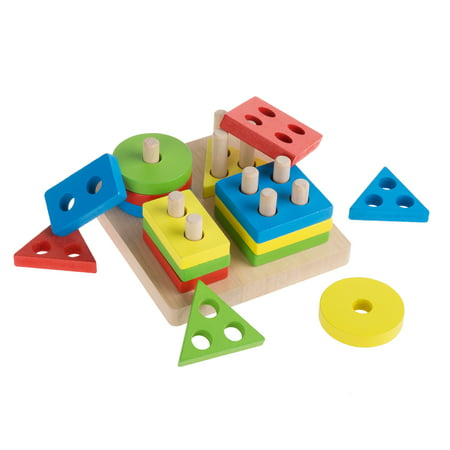 Sorting Blocks (Wooden Shape Sorter-Classic Toddler Sorting and Counting Puzzle Toy-16 Cutout Blocks in 4 Colorful Geometric Shapes-Learning Activity by Hey! Play! )