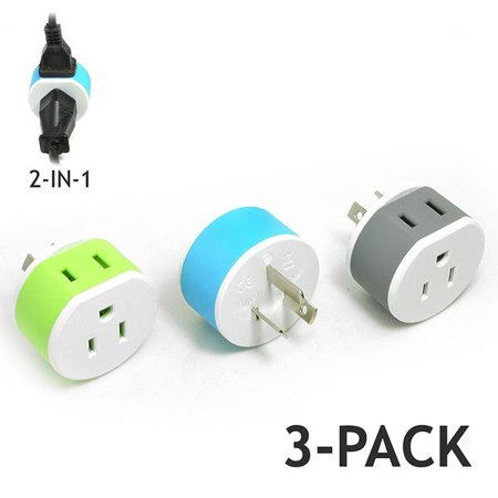OREI Australia, New Zealand, China Travel Plug Adapter - 2 USA Inputs - 3 Pack - Type I
