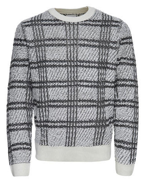 Plaid Jacquard Crewneck Sweater