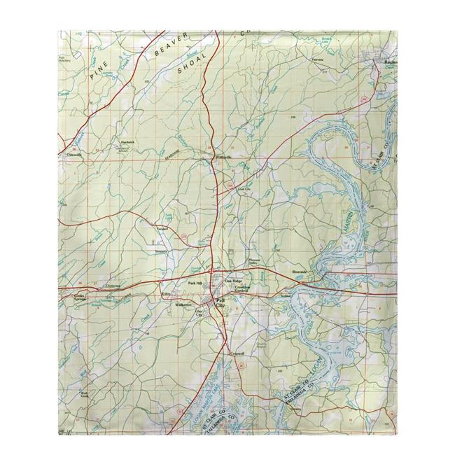 Betsy Drake BK977 50 x 60 in. Logan Martin Lake, AL Nautical Map Fleece Throw