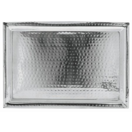 Stainless Hammered Finish (HUBERT Serving Tray With Hammer Finish Stainless Steel Rectangular - 18