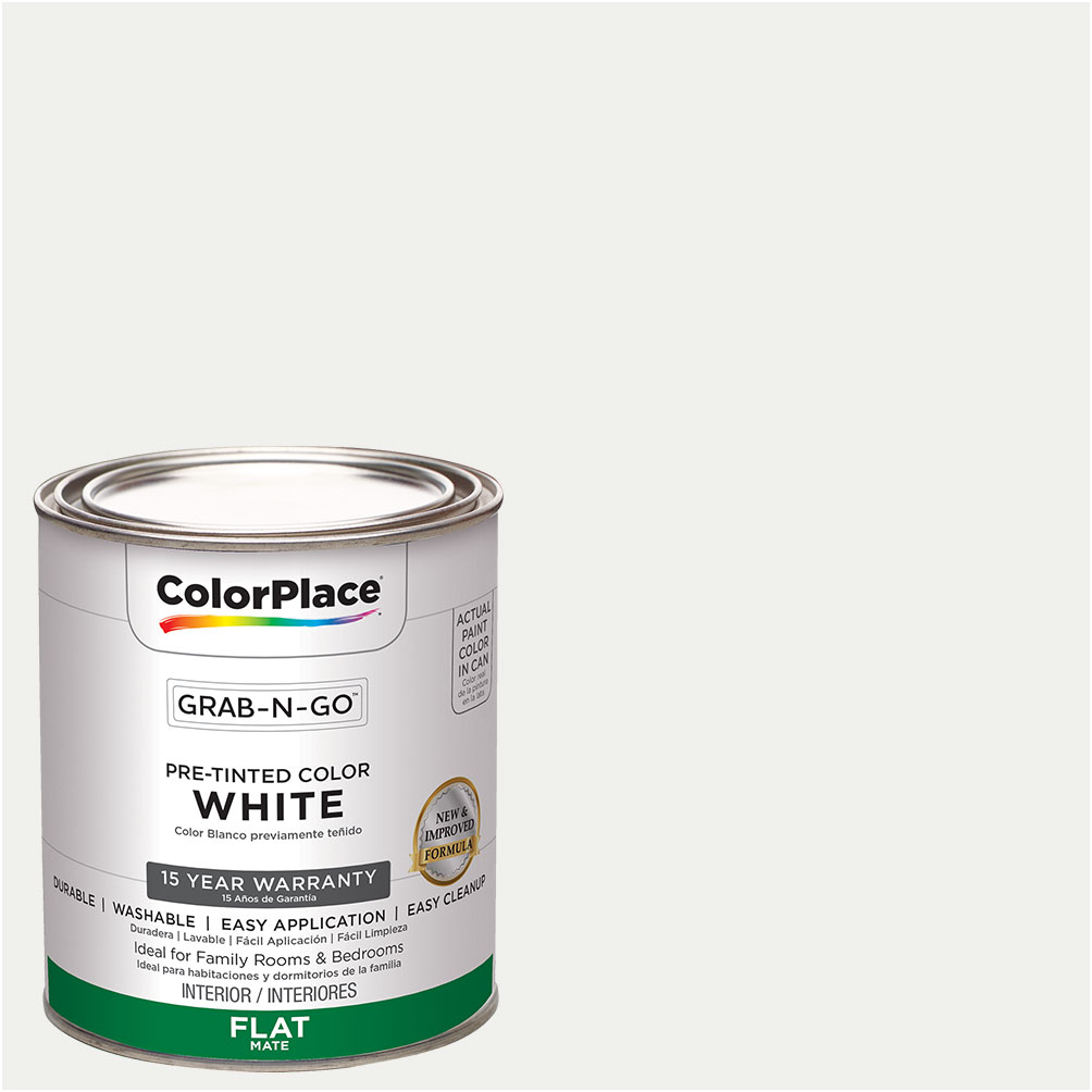 ColorPlace Pre Mixed Ready To Use, Interior Paint, Flat Finish,White,1 Quart