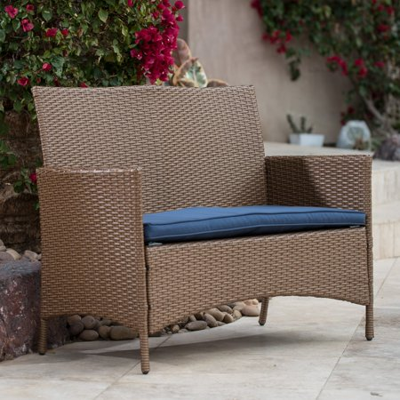 Coral Coast Sindelar All Weather Wicker Loveseat Bench With Cushion
