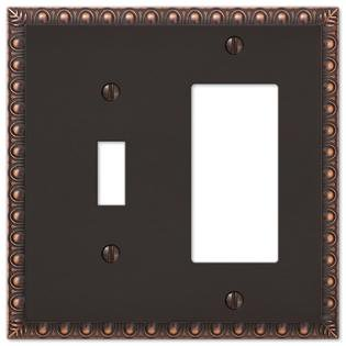 1 Toggle 1 Rocker GFCI Combination Egg & Dart Switch Plate Outlet Wall Plate Cover - Oil Rubbed Bronze 1 Toggle / 1 Rocker