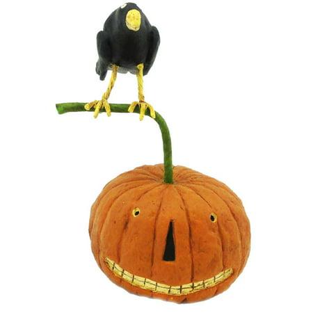 Halloween Crow On Pumpkin Resin 16204