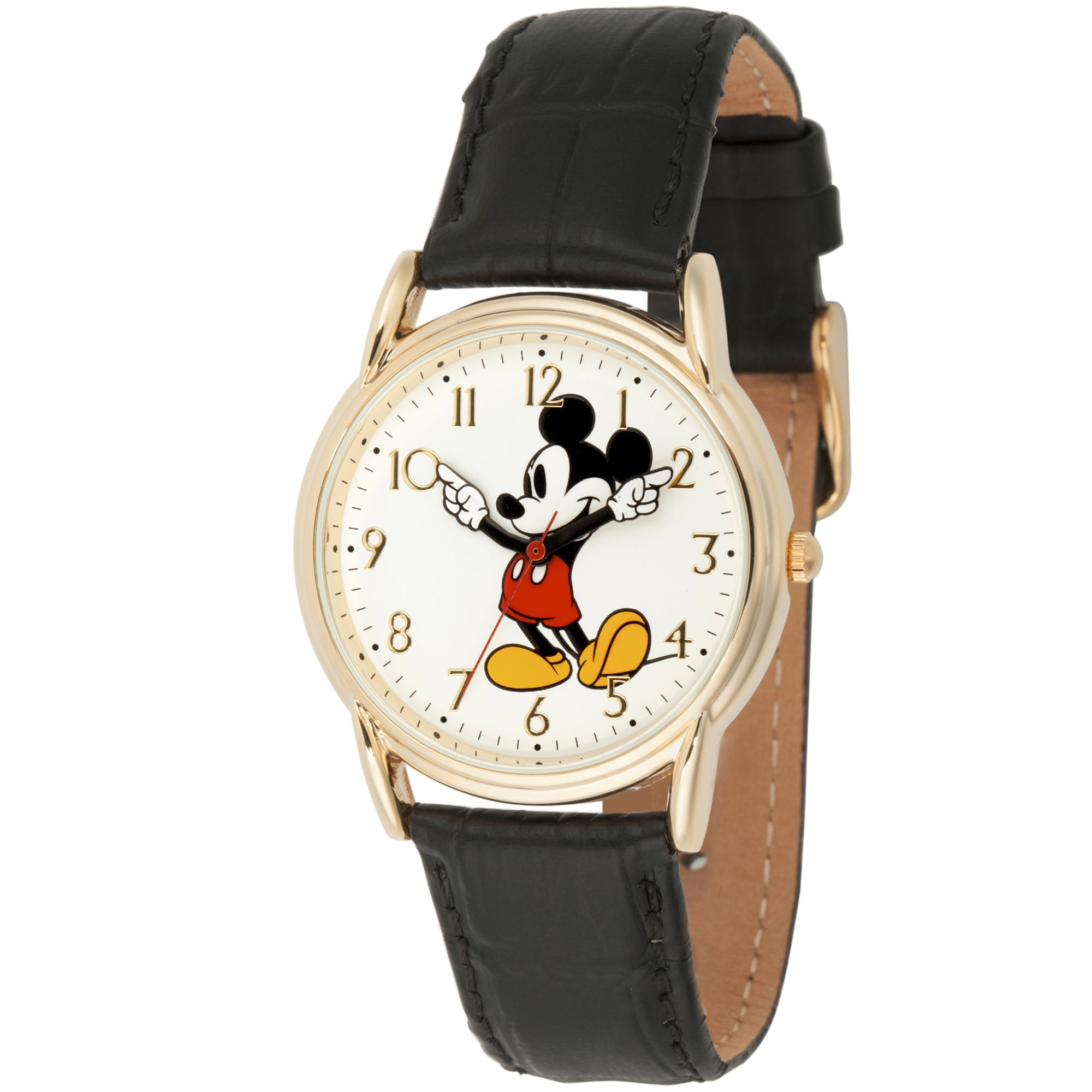 Mickey Mouse Men's Gold Cardiff Alloy Watch, Black Leather Strap