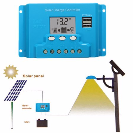 10/20/30A LCD 12V/24V Solar Charge Controller Solar Panel Battery Regulator Safe Protection 2 USB 4-stage PWM - image 10 of 13