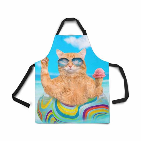 ASHLEIGH Cat Sunglasses Air Mattress Sea Red Cat Ice Cream Apron for Women Men Girls Chef with Pockets Adjustable Bib Kitchen Cook Apron for Cooking Baking Gardening Pet Grooming Cleaning
