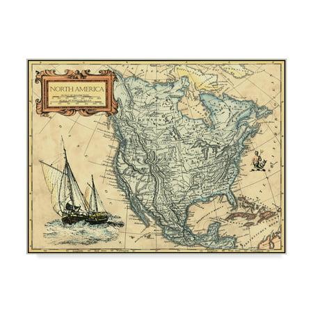 Trademark Fine Art 'N America Map' Canvas Art by Vision Studio