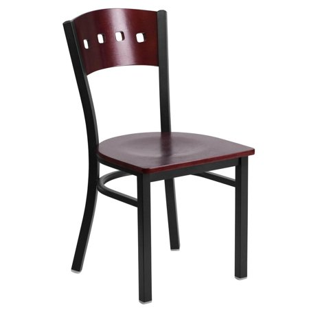 Square Back Chairs - Black 4 Square Back Metal Restaurant Chair - Mahogany Wood Back & Seat