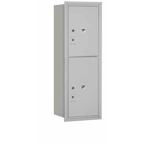 "Salsbury Industries 4C Horizontal Mailbox 11-Door High Unit (41""), Single Column, Stand-Alone Parcel Locker-1 PL5 and 1 PL6, Aluminum, Rear Load, USPS Access"