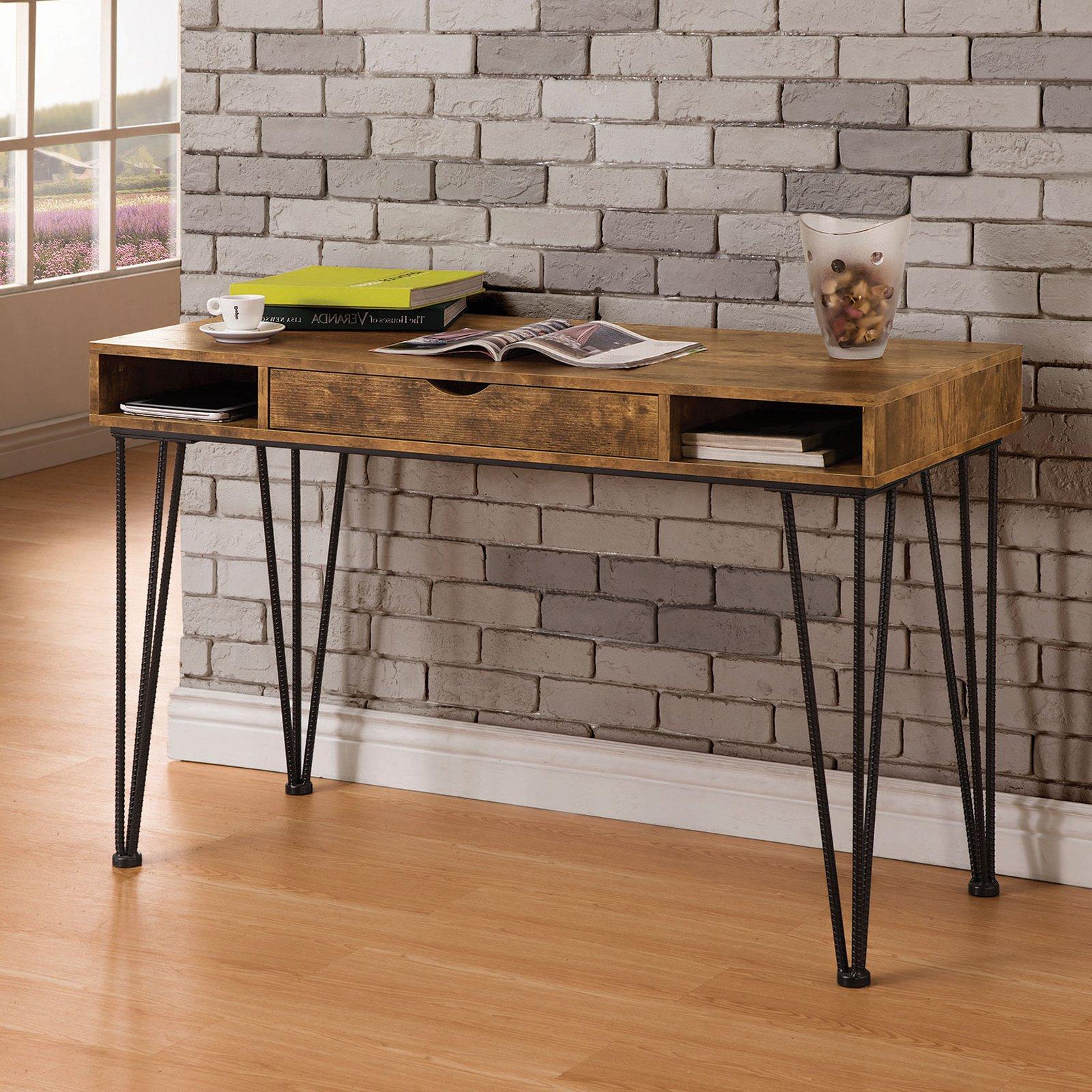 Coaster Company Writing Desk, Antique Nutmeg/Dark Bronze