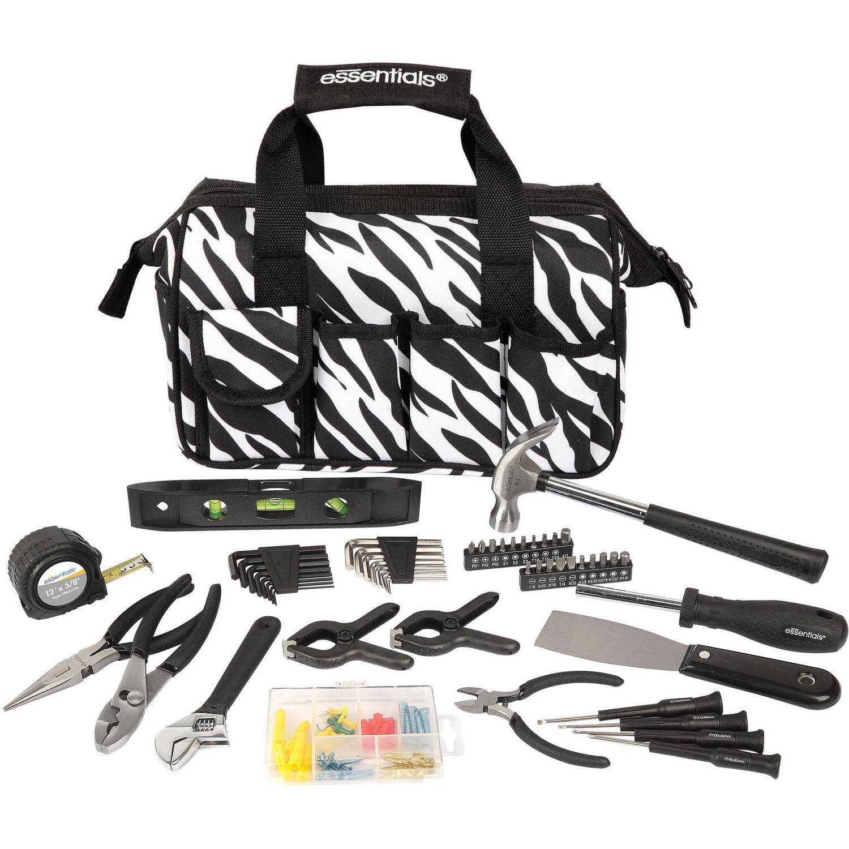 Essentials 53-Piece Around-The-House Tool Kit, Zebra