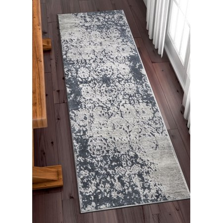 Well Woven Forte Grey Microfiber High-Low Pile Vintage Abstract Erased Floral 2x7 (2'3